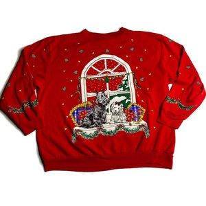 Vintage Christmas Sweatshirt Dogs Red Snow Ugly